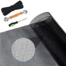 """Yoochee Window Screen Replacement with Rolling Tool Retainer Spline and Steel Hook, Durable Fiberglass Screen Roll, DIY Adjustable Screen Mesh for Windows Doors (39"""" x 118"""", Charcoal/Black)"""