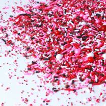 Chocolate Covered Strawberry | Gluten Friendly | Pink | Red | White | Dotted with Chocolate Jimmies | Valentines Sprinkle Mix, 4OZ