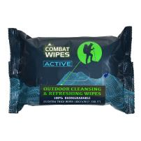 Combat Wipes Active Outdoor Wet Wipes | Extra Thick, Ultralight, Biodegradable, Body & Hand Cleansing/Refreshing Cloths for Camping, Gym & Backpacking w/Natural Aloe & Vitamin E