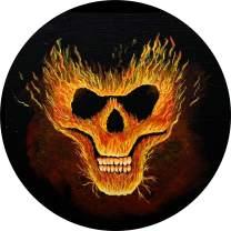 TIRE COVER CENTRAL Skull Fire Flames Spare Tire Cover for 225/75R15 Jeep RV Camper Trailer(Drop Down Size menu