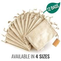 Organic Cotton Reusable Produce Bags - Biodegradable Eco-Friendly Bulk Bin Bags for Food - Small 5x7 - Sachet Bags - Fruit Vegetable Storage - Drawstring Pouch - Produce Linen Bag 12 Pcs by Leafico