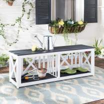 Safavieh FOX6706K Outdoor Collection Branco Grey Bench, Dark Slate Gray/White
