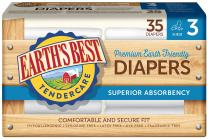 Earth's Best TenderCare Chlorine-Free Disposable Baby Diapers, Size 3 (16-28 lbs), 35 Count (Pack of 4)