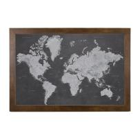 Stormy Dreams World Travel Map with Rustic Brown Frame