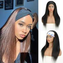 VCKOVCKO Blend Human Hair HeadBand Wig HB Wig Kinky Straight Mixed Human Hair Wig Yaki Straight Machine Made Wigs for Black Women Natural Black Color 20 Inches