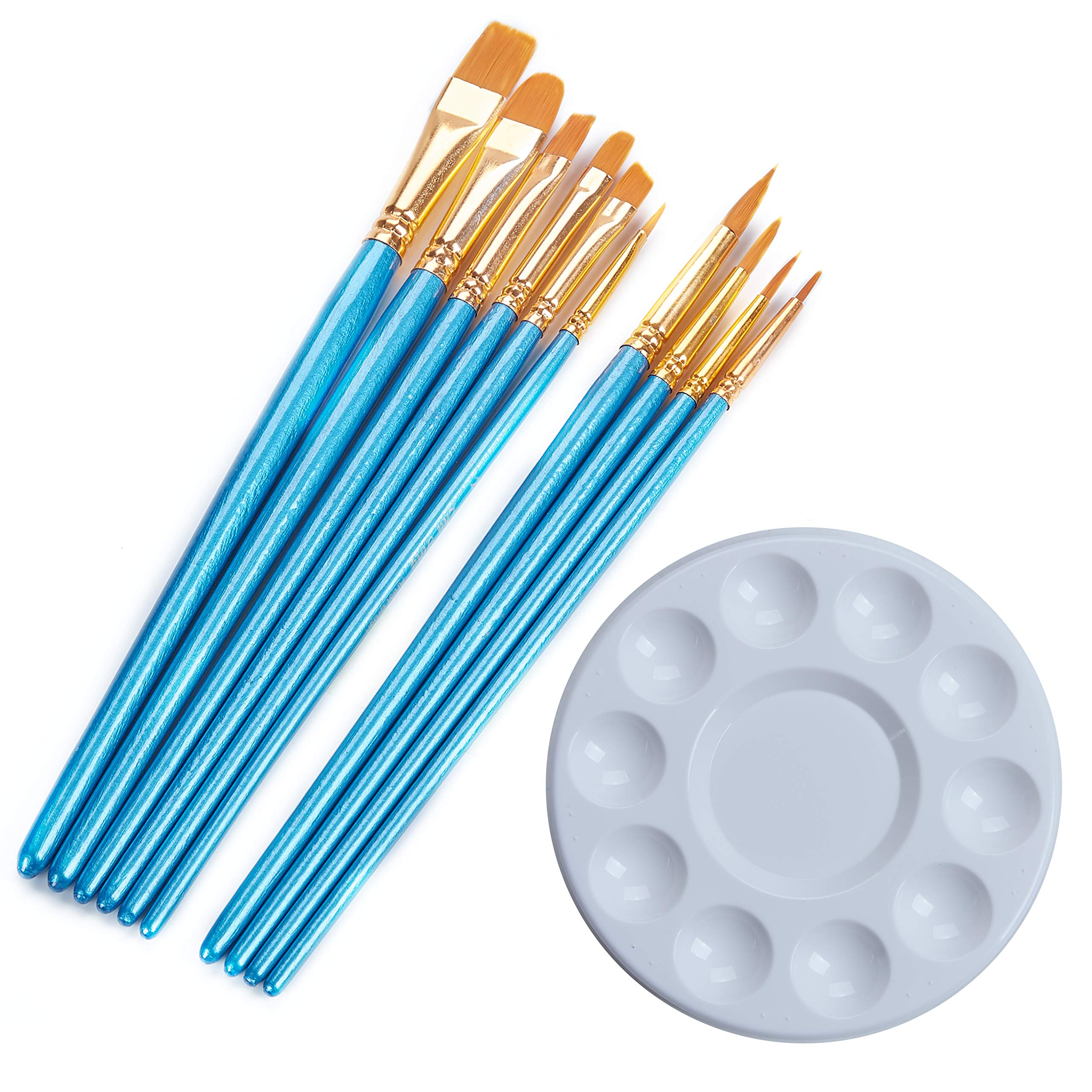 ECONIE Paint Brush Nylon Hair Brush Set,Pointed-Round Art Paintbrushes with Paint Trays Plastic Palette for All Purpose Oil Watercolor Painting Artist Professional Kits (1)