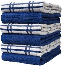 """Premium Kitchen Towels (16""""x 26"""", 6 Pack) – Large Cotton Kitchen Hand Towels – Window Pane Design – 400 GSM Highly Absorbent Tea Towels Set with Hanging Loop – Blue"""
