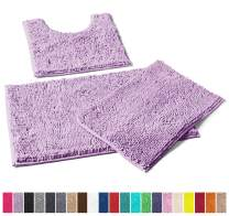 LuxUrux Bathroom Rugs 3pc Non-Slip Shaggy Chenille Bathroom Mat Set, Includes U-Shaped Contour Toilet Mat, 20 x 30'' and 16 x 24'' Bath Mat, Machine Washable (3 Pc Set - Style A, Lavender)