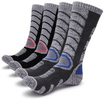 Gosuban 2 Pairs Antiskid Wicking Outdoor Multi Performance Hiking Cushion Socks for Men and Women, Assort Colors