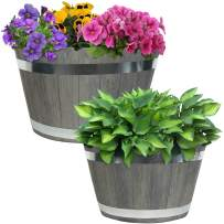 Sunnydaze Chateau Fiber Clay Round Barrel Planter Flower Pot, Durable Indoor/Outdoor 17-Inch and 20-Inch 2-Piece Set, Gray