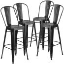 Flash Furniture 4 Pk. 30'' High Distressed Black Metal Indoor-Outdoor Barstool with Back