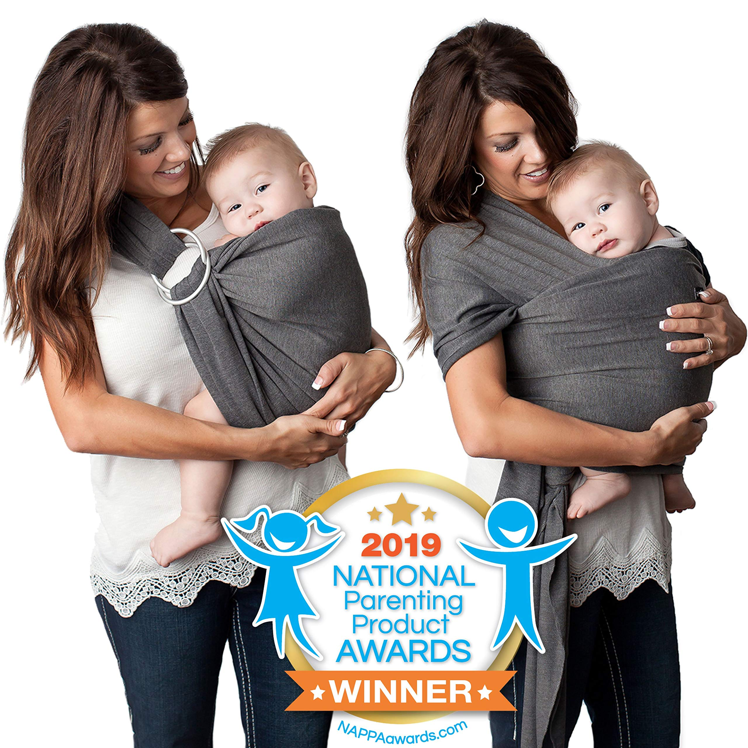 4 in 1 Baby Wrap Carrier and Ring Sling by Kids N' Such   Charcoal Gray Cotton   Use as a Postpartum Belt and Nursing Cover with Free Carrying Pouch   Best Baby Shower Gift for Boys or Girls