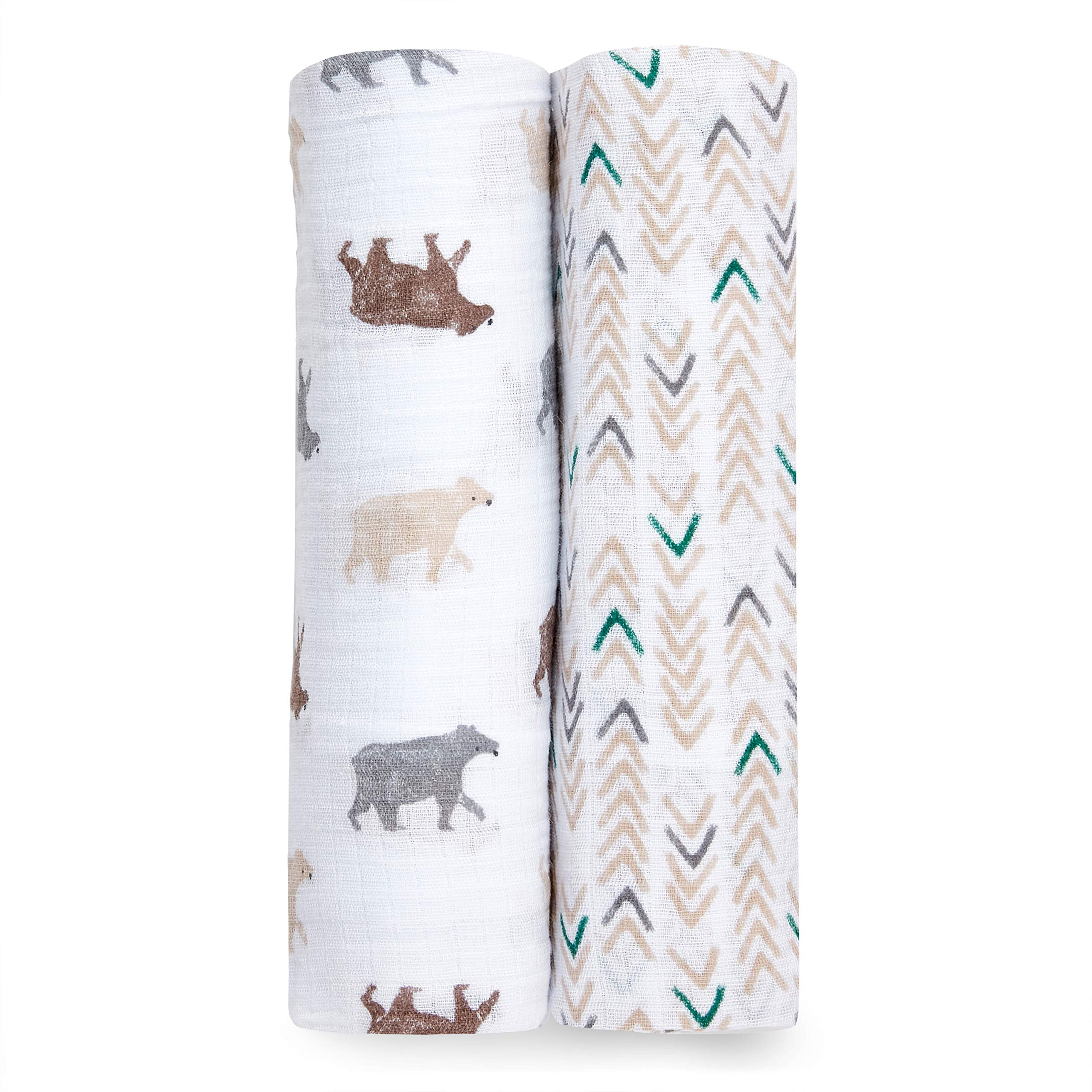 Aden by aden + anais Swaddle Blanket, Muslin Blankets for Girls & Boys, Baby Receiving Swaddles, Ideal Newborn Gifts, Unisex Infant Shower Items, Wearable Swaddling Set, 2 Pack, Bear Necessities
