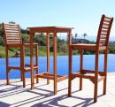 VIFAH V495SET1 Dartmoor Outdoor 3-Piece Wood Bar Set with Bar Table and 2 Bar Chairs