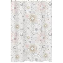 Sweet Jojo Designs Blush Pink, Gold, Grey and White Star and Moon Bathroom Fabric Bath Shower Curtain for Celestial Collection