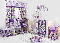Bacati - Botanical Purple/Multi 10-Piece Nursery-in-a-Bag Girls Crib Bedding Set 100 Percent Cotton with 2 Crib Fitted Sheets (Bumper Pad not Included)