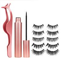 MUSCCCM Magnetic Eyeliner and 5 Pairs of Waterproof Magnetic Eyelashes Comes with Applicator Easy and Long Lashes are Best Choice for Novice,Suitable for Wearing to Attend Ceremony Feast Party
