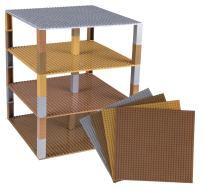 """Strictly Briks Classic Baseplates 10"""" x 10"""" Brik Tower 100% Compatible with All Major Brands   Building Bricks for Towers   4 Gold, Silver, Copper & Bronze Stackable Base Plates & 30 Stackers"""