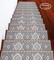 "Stair Treads Traditional Collection Contemporary, Cozy, Vibrant and Soft Stair Treads | Gray & White, 9"" x 28"" 