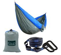 Esup Single & Double Camping Hammock -Lightweight Nylon Portable Hammock, Best Parachute Hammock with Tree Straps for Backpacking, Camping, Travel