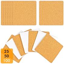 100 Pack Self-Adhesive Cork Squares 4 x 4 Inches Cork Backing Sheets Cork Tiles for Cork Coasters and DIY Crafts