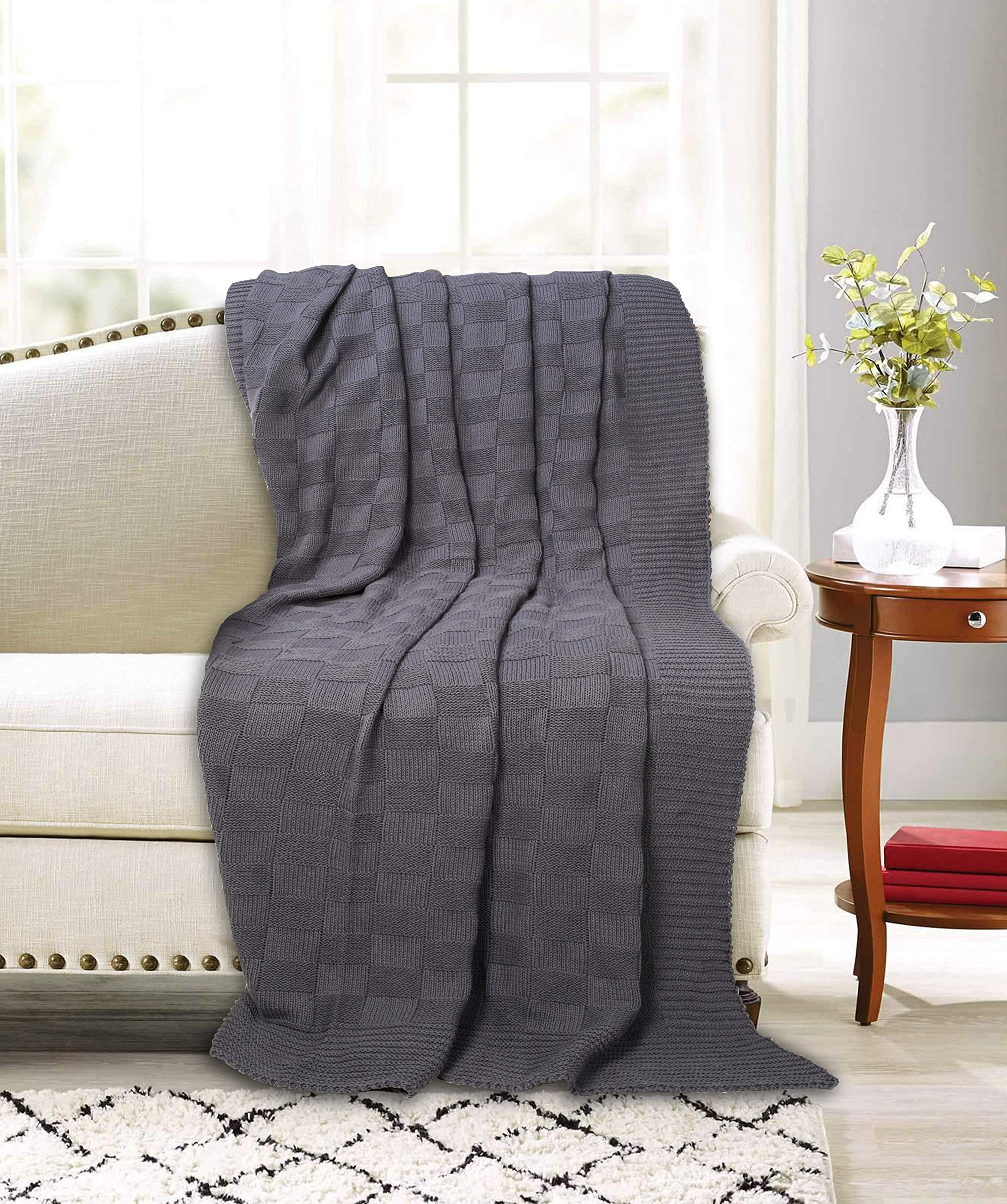 GLAMBURG Knitted Throw Blanket for Couch Sofa Bed Travel 50x60, Cotton Throw Blankets for Adults, All Season Knit Throw Blanket, Basket Weave Farmhouse Cotton Knitted Throw Blanket Charcoal Grey
