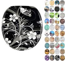 Sanilo Round Toilet Seat, Wide Choice of Slow Close Toilet Seats, Molded Wood, Strong Hinges (White Flower)