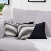 YAERTUN Set of 2 Lumbar Velvet Soft Decorative Throw Pillow Covers Set Cushion Case for Sofa Bedroom Car Cotton Linen Stripe 12 x 20 Inch, Black