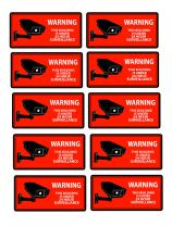 Security Camera Decal Warning Stickers, CCTV Video Surveillance Recording Signs from Vinyl for Indoors, Outdoors; by Mandala Crafts, Front Adhesive Solid Red
