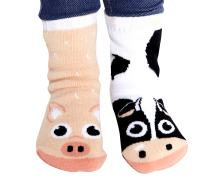 Cow & Pig Barn Animal Collectible Mismatched Adorable Cute Socks for Kids Boys Girls Toddlers with No Slip Grips (Age 1-3)
