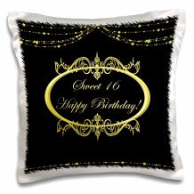 """3D Rose Black and Gold Sweet 16 Happy Birthday Design Pillowcase, 16"""" x 16"""""""