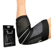 Venom Strapped Elbow Brace Compression Sleeve - Elastic Support, Tendonitis Pain, Tennis Elbow, Golfer's Elbow, Arthritis, Bursitis, Basketball, Baseball, Golf, Lifting, Sports, Men, Women