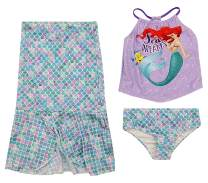 Toddler and Big Girl Authentic Character Rash Guard and Swimsuit Set UPF 50