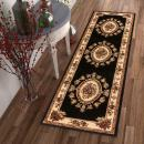 """Pastoral Medallion Black French European Formal Traditional 3x12 (2'7"""" x 12') Runner Rug Stain / Fade Resistant Contemporary Floral Thick Soft Plush Hallway Entryway Living Dining Room Area Rug"""