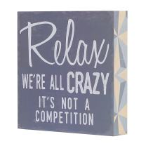 """Barnyard Designs Relax We're All Crazy It's Not a Competition Box Wall Art Sign, Primitive Country Farmhouse Home Decor Sign with Sayings 8"""" x 8"""""""