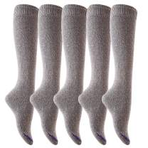Lian LifeStyle Women's 5 Pairs Awesome Breathable Fancy and Cozy Knee High Cotton Boot Socks Size 6-9 (Grey)