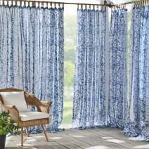 "Elrene Home Fashions Verena Floral Sheer Indoor/Outdoor Adhesive Loop Fastener Tab Top Window Curtain Panel for Patio, Pergola, Porch, Deck, Lanai, and Cabana, 52""x108"" (1, Indigo"