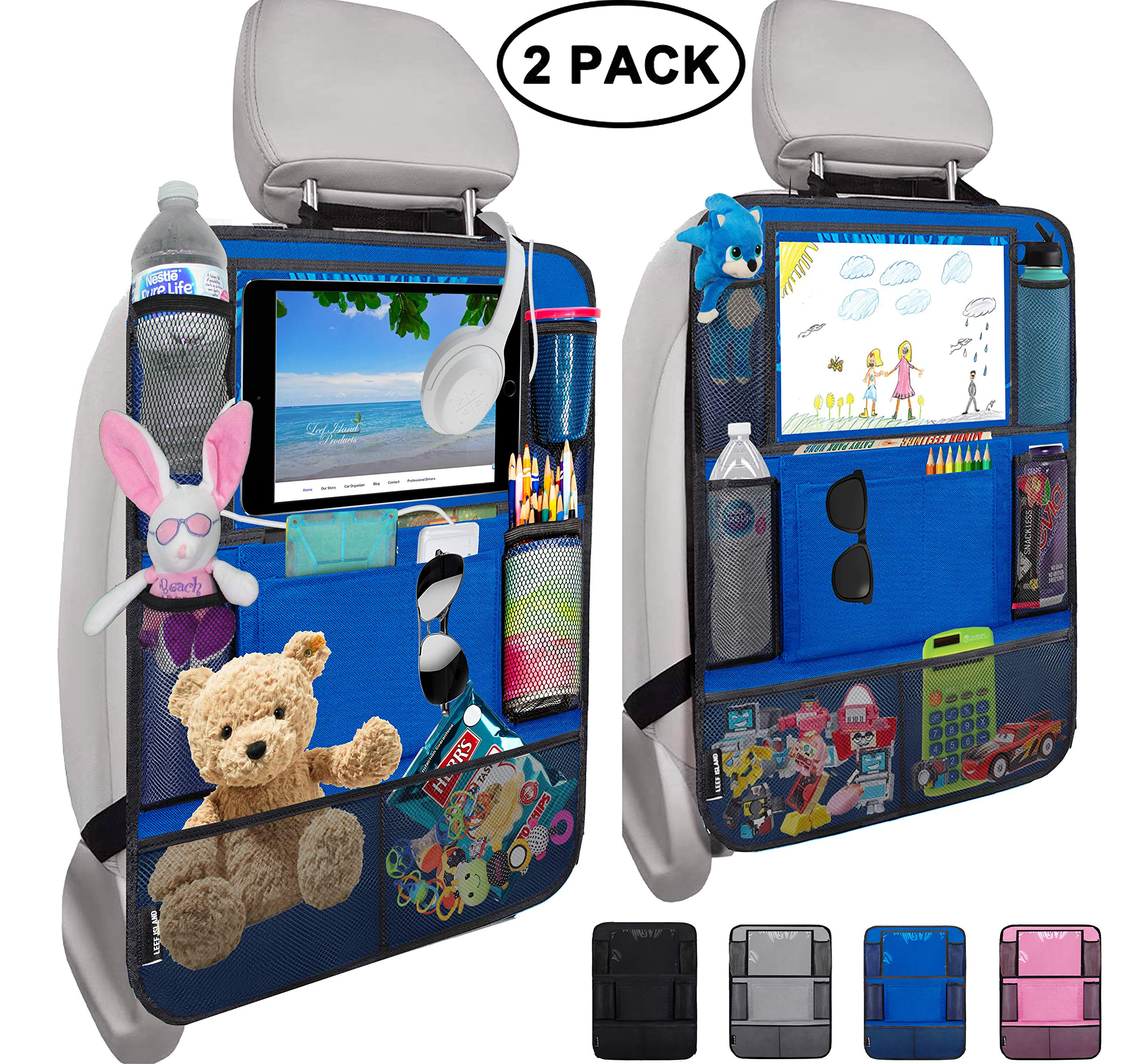 """Leef Island Backseat Car Organizer – 10"""" Tablet Holder with 2 Cable Slots, 9 Storage Pockets, Seat Protector Kick Mats for Kids and Adults, Travel Accessories (2 Pack - Blue)"""