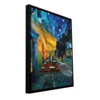 """ArtWall """"Cafe Terrace at Night Floater Framed Gallery-Wrapped Canvas Art by Vincent Van Gogh, 36 by 48-Inch, Holds 34.5 by 46.5-Inch Image"""