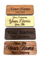 """Fisharply Employee Name Tags (Walnut, 2.5"""" x 1"""") 