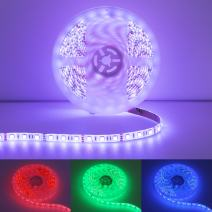 Quntis Led Light Strip Kit, 12V RGB Waterproof Led String Lights, 16.4FT SMD 5050 300 LEDs Color Changing Rope Lights with 44 Key IR Remote Power Supply for Home Kitchen DIY Holiday Party Decoration
