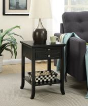 Convenience Concepts American Heritage Logan End Table with Drawer and Slide, Black
