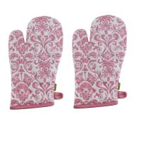 """Set of 2 Oven Mitts, 100% Cotton of Size 7""""X12 Inch, Eco-Friendly & Safe, Pink Ornaments Design for Kitchen"""