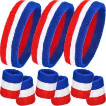 9 Pieces Striped Sweatbands Set, Includes 3 Pieces Sports Headband and 6 Pieces Wristbands Sweatbands Colorful Cotton Striped Sweatband Set for Men and Women (Red White and Blue Set 3, 9 Pieces)