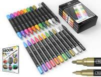TOOLI-ART 24 Metallic Acrylic Paint Pens Marker Set 0.7mm Extra Fine And 3.0mm Medium Tip Combo For Rocks, Glass, Mugs, Most Surfaces. Non Toxic
