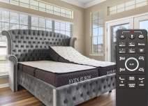 """Sven & Son Split King Adjustable Bed Base Frame Platinum (Individual Head Tilt & Lumbar) + 12"""" Cool Gel Memory Foam Mattress and Adjustable Bed (Split King)"""