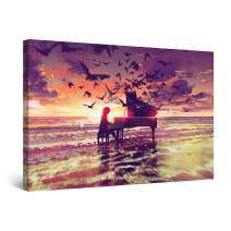 """Startonight Canvas Wall Art Abstract - Fantasy Piano on The Beach Painting - Artwork Print for Bedroom 24"""" x 36"""""""
