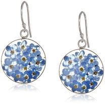 Sterling Silver Blue Pressed Flower Circle Drop Earrings