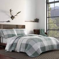 Eddie Bauer Home Boulder Plaid Quilt Set, King, Pastel Green
