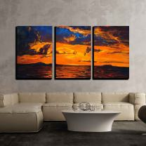 """wall26 - 3 Piece Canvas Wall Art - Original Oil Painting of Ocean and Cliffs on Canvas.Rich Golden Sunset Over Ocean - Modern Home Decor Stretched and Framed Ready to Hang - 16""""x24""""x3 Panels"""